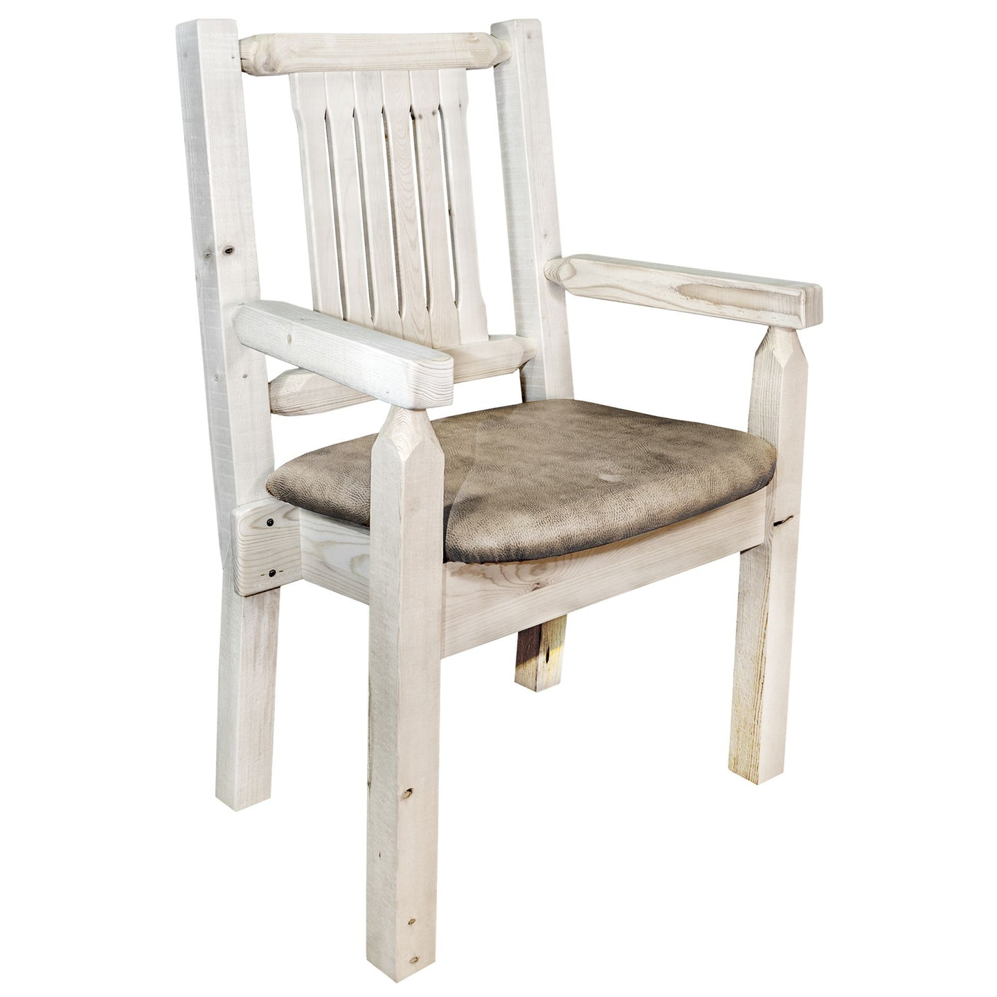 Homestead Rustic Captain's Chair w. Upholstered Seat - Buckskin