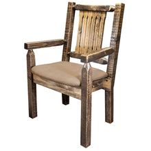 Load image into Gallery viewer, Homestead Rustic Captain's Chair w. Upholstered Seat - Buckskin
