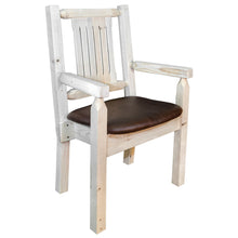 Load image into Gallery viewer, Homestead Rustic Captain's Chair w. Upholstered Seat - Saddle