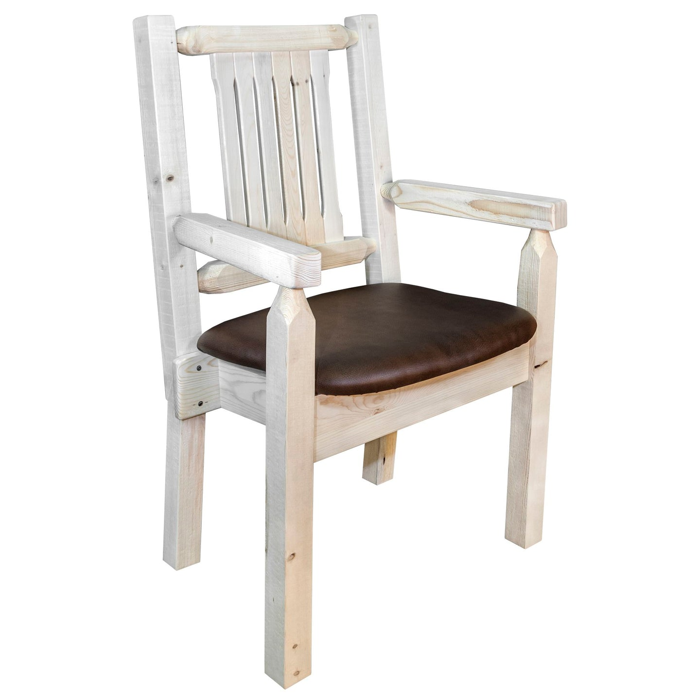 Homestead Rustic Captain's Chair w. Upholstered Seat - Saddle