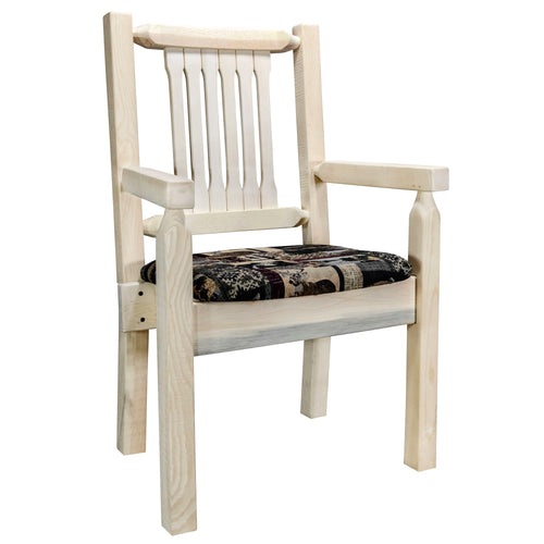 Homestead Rustic Captain's Chair w. Upholstered Seat - Woodland