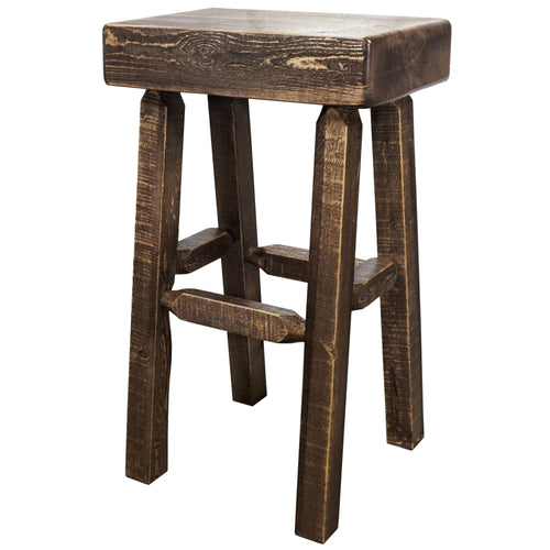 Homestead Counter Height Half Log Rustic Bar Stool
