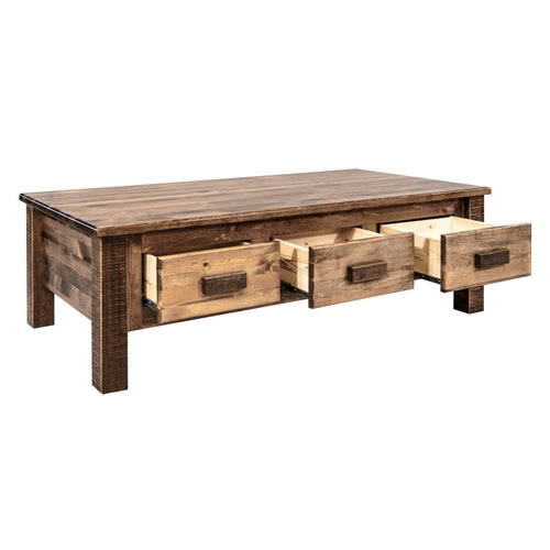 Homestead Large Rustic Coffee Table w/ 6 Drawers