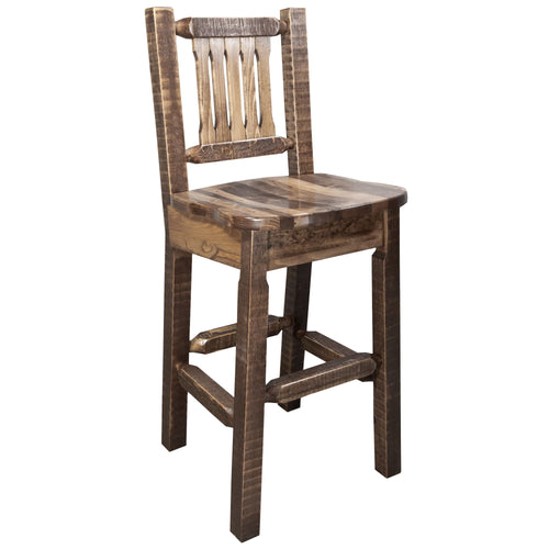 Homestead Rustic Bar Stool with Back Ergonomic Wooden Seat