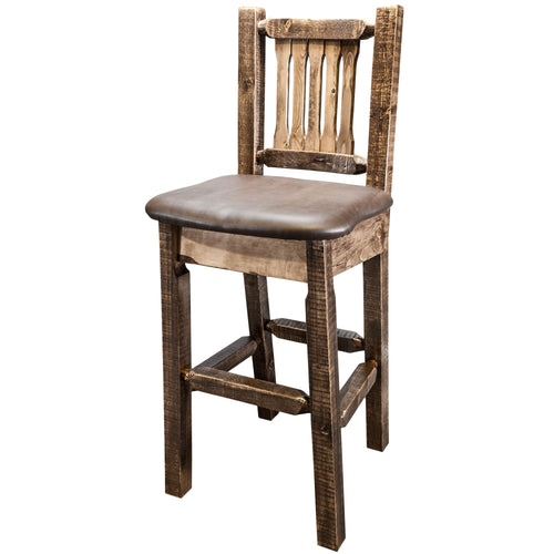 Homestead Rustic Bar Stool with Back Upholstered Seat Saddle Pattern