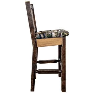 Homestead Rustic Bar Stool with Back Upholstered Seat Woodland Pattern