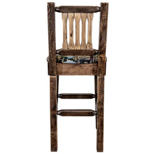 Load image into Gallery viewer, Homestead Rustic Bar Stool with Back Upholstered Seat Woodland Pattern