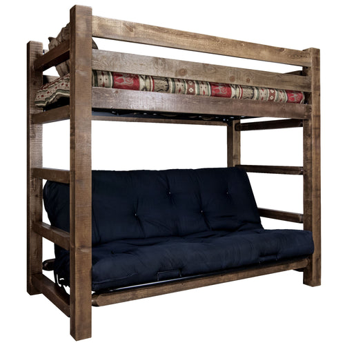 Homestead Rustic Bunk Bed with Futon
