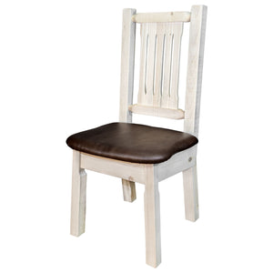 Homestead Rustic Dining Chair with Upholstered Seat, Saddle Pattern