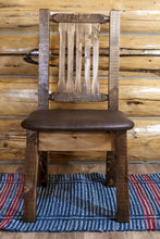 Load image into Gallery viewer, Homestead Rustic Dining Chair with Upholstered Seat, Saddle Pattern