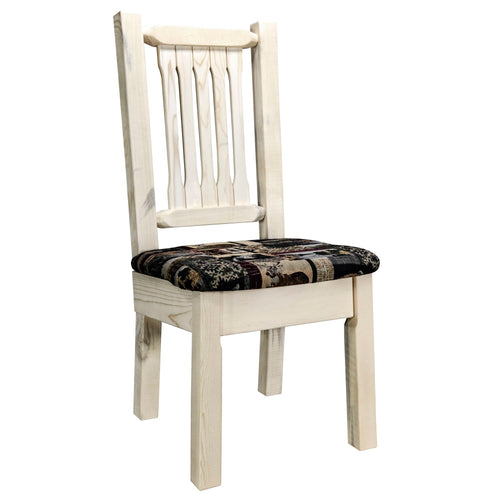Homestead Rustic Dining Chair with Upholstered Seat, Woodland Pattern