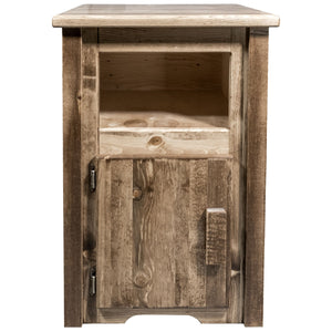 Homestead Rustic End Table w/ Door Left Hinged