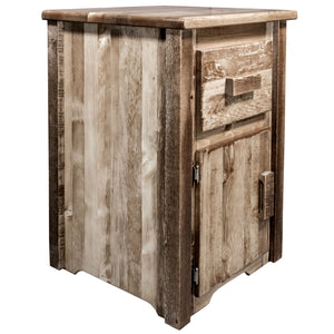 Homestead Rustic End Table w/ Drawer & Door Right Hinged