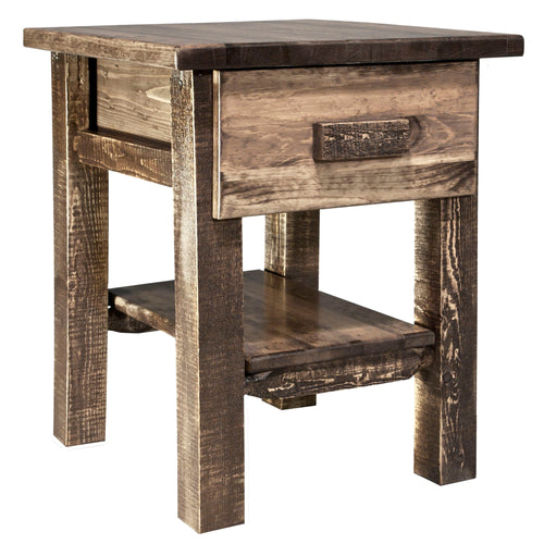 Homestead Rustic Nightstand with Drawer and Shelf