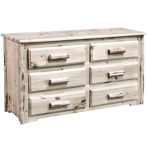 Montana 6 Drawer Rustic Log Dresser