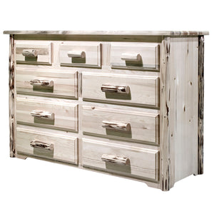 Montana 9 Drawer Rustic Log Dresser