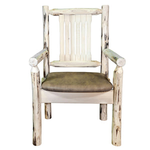 Montana Rustic Captain's Chair w. Upholstered Seat - Buckskin