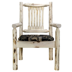 Montana Rustic Captain's Chair w. Upholstered Seat - Woodland