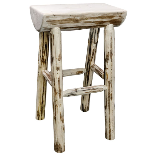 Montana Counter Height Half Log Rustic Bar Stool