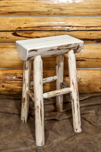 Montana Half Log Rustic Bar Stool