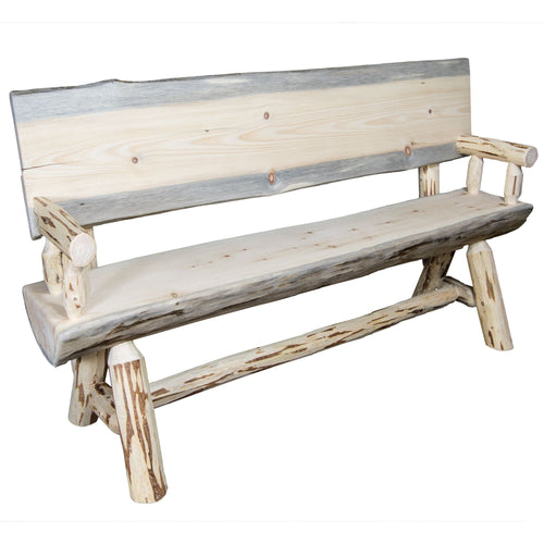 Montana Half Log Wood Dining Bench w/ Back & Arms