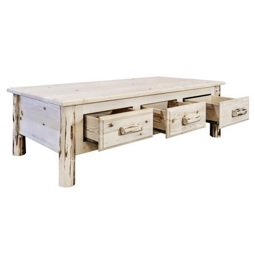 Montana Large Rustic Coffee Table w/ 6 Drawers