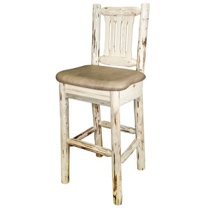 Montana Rustic Bar Stool with Back Upholstered Seat Buckskin Pattern