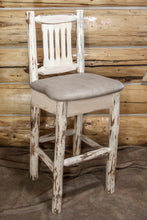 Load image into Gallery viewer, Montana Rustic Bar Stool with Back Upholstered Seat Buckskin Pattern