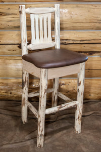 Montana Rustic Bar Stool with Back Upholstered Seat Saddle Pattern