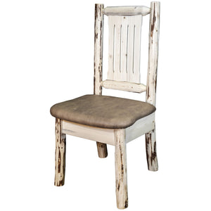 Montana Rustic Dining Chair with Upholstered Seat, Buckskin Pattern