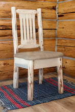 Load image into Gallery viewer, Montana Rustic Dining Chair with Upholstered Seat, Buckskin Pattern