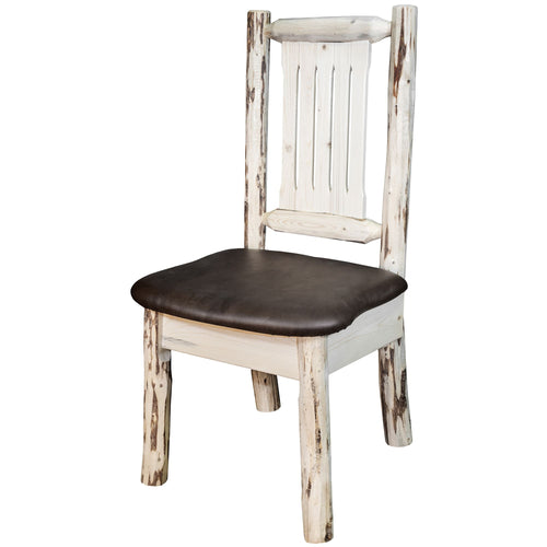 Montana Rustic Dining Chair with Upholstered Seat, Saddle Pattern