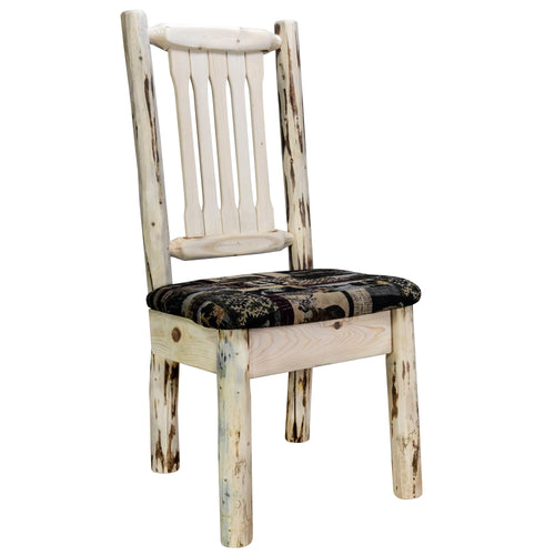 Montana Rustic Dining Chair with Upholstered Seat, Woodland Pattern