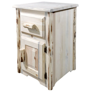 Montana Rustic End Table w/ Drawer & Door Right Hinged