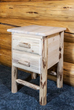 Load image into Gallery viewer, Montana Rustic Nightstand with 2 Drawers
