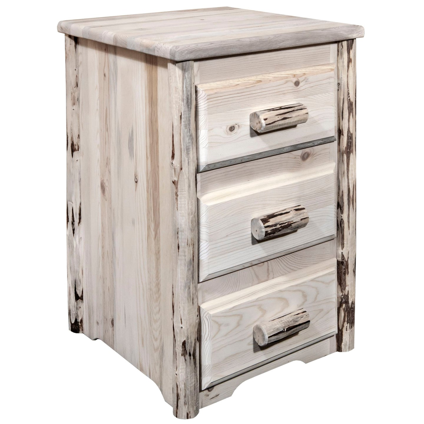 Montana Rustic Nightstand with 3 Drawers