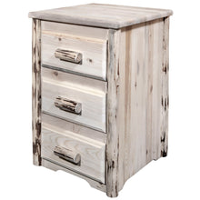 Load image into Gallery viewer, Montana Rustic Nightstand with 3 Drawers