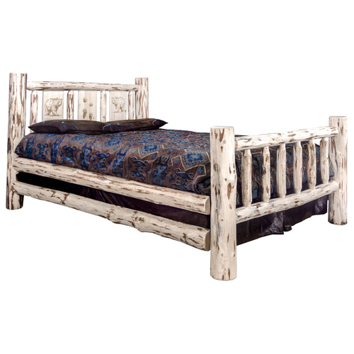 Montana Rustic Bed with Laser Engraved Design