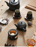 Load image into Gallery viewer, Black Pottery Ceramic Side Handle Gongfu Teapot & Warmer Dock Base Set