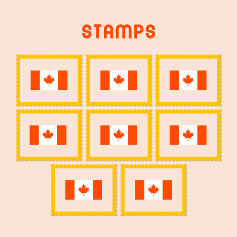 8 postage stamps
