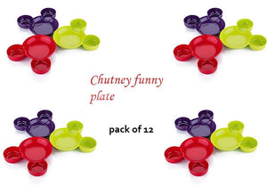 0863 Unbreakable Mickey Shaped Kids/Snack Serving Sectioned Plates (Assorted Colors) (Pack of 1)