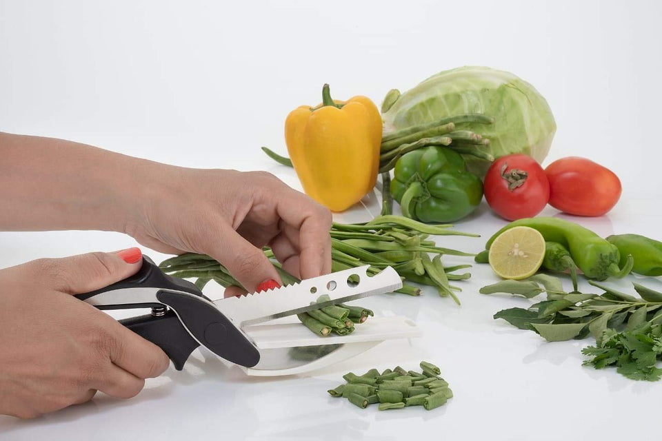 0073 Stainless Steel 4 in 1 Clever Cutter, Black - mstechindia.com