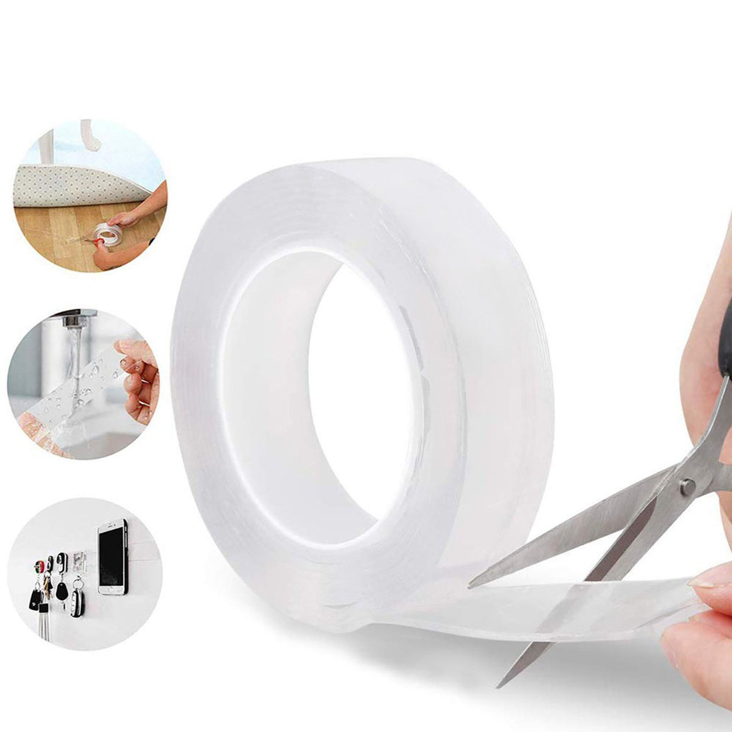 Double Sided Nano Adhesive Tape, 5 miter Washable Traceless Nano Gel Tape, Multipurpose