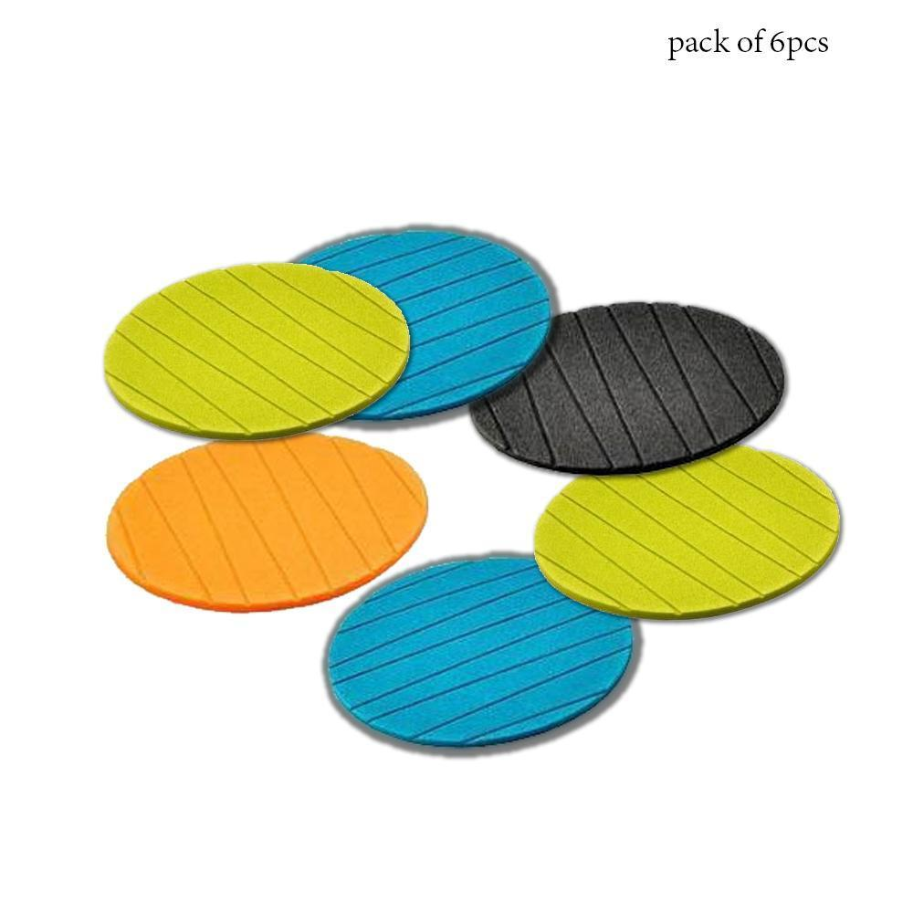 0129 6 pcs Useful Round Shape Plain Silicone Cup Mat Coaster Drinking Tea Coffee Mug Wine Mat for Home - mstechindia.com