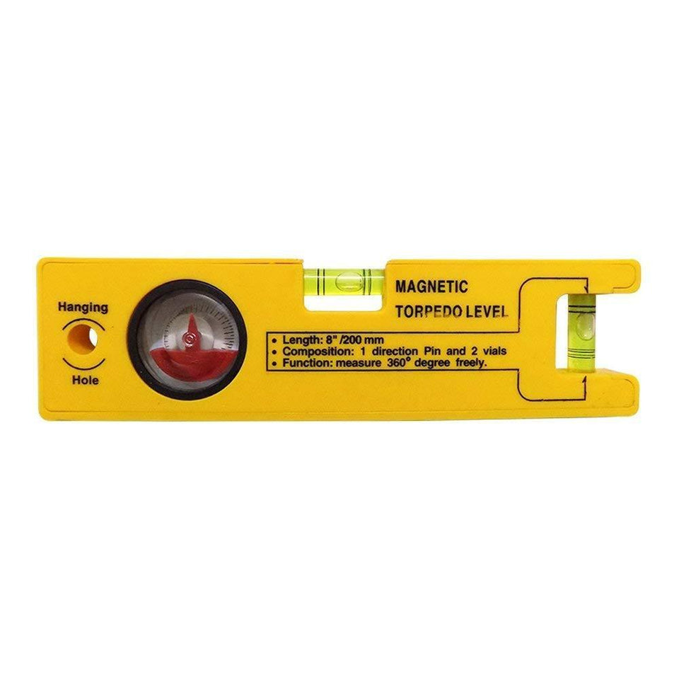 0429 8-inch Magnetic Torpedo Level with 1 Direction Pin, 2 Vials and 360 Degree View