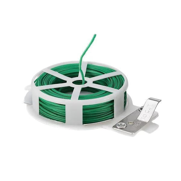 0873 Plastic Twist Tie Wire Spool With Cutter For Garden Yard Plant 50m (Green)