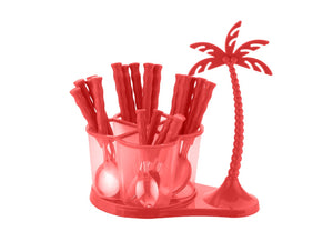 0111 Dining/Cutlery Set with Coconut Tree Design stand(24pcs) - mstechindia.com