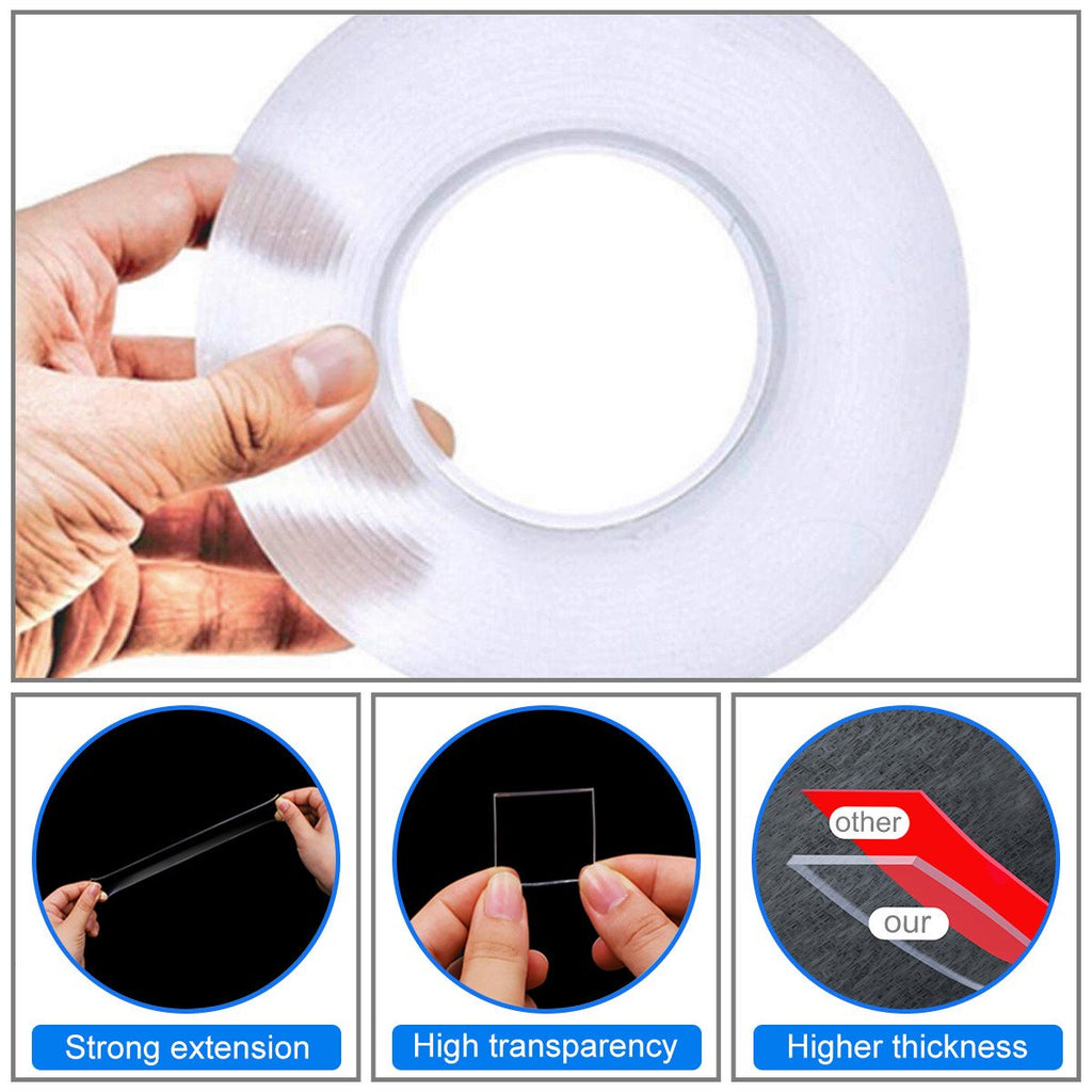 Double Sided Nano Adhesive Tape, 3 meter Washable Traceless Nano Gel Tape, Multipurpose - mstechindia.com