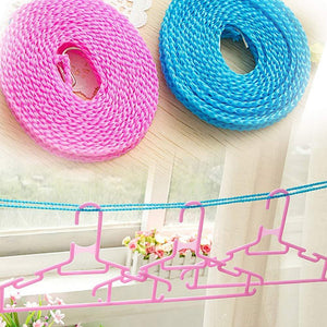 0588 Nylon Clothesline, Windproof Anti-Slip Hanger Stop Rope with 2 Hooks (4 Meters)