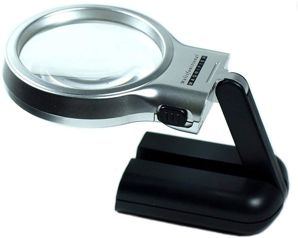 0528 Multifunctional 3-in-1 Hand-Held Folding Lighted High-Powered Magnifier Glass with 3X Zoom and 2 LED Lights